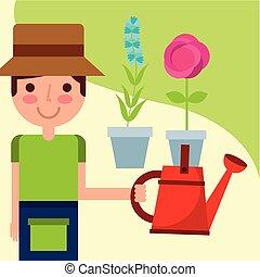 boerderij, jongen, werken, tuinman