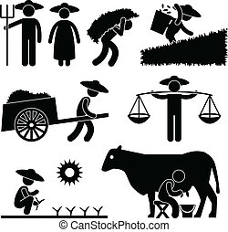boerderij, landbouw, arbeider, farmer