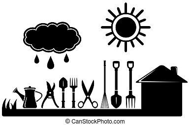 boerderij, landscaping, set, het tuinieren hulpmiddelen