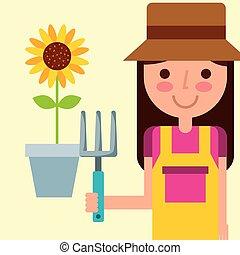 boerderij, meisje, tuinman