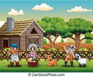 boerderij, vrolijke , werken, spotprent, landbouwers
