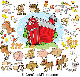 boerderijdieren, vastgesteld ontwerp, vector
