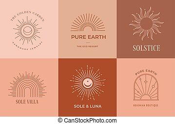 boheems, geometrisch, terracotta, zon, voorbeelden, logos, iconen, communie, lineair ontwerp, abstract, symbolen, decoration.