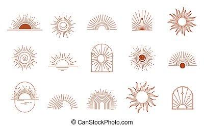 boheems, geometrisch, zon, venster, boog, voorbeelden, logos, iconen, communie, lineair ontwerp, abstract, symbolen, decoration.