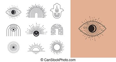 boheems, geometrisch, zon, voorbeelden, logos, iconen, communie, lineair ontwerp, abstract, symbolen, decoration.