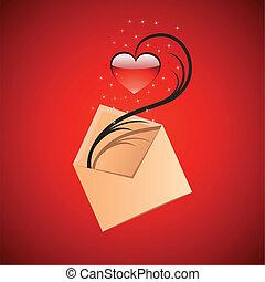 boodschap, concept, liefde, illustratie