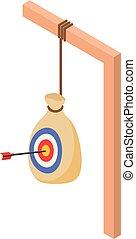 boogschieten, isometric, doel, stijl, zak, pictogram