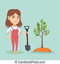 boom., aanplant, vrouw, jonge, kaukasisch