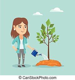 boom., watering, vrouw, jonge, kaukasisch