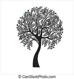boompje, achtergrond, illustratie, -, vector, witte