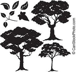 boompje, bladeren, 2, vector, silhouette