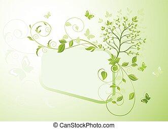 boompje, frame, groene