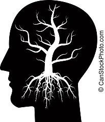 boompje, hoofd, silhouette, man