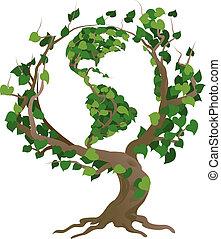 boompje, illustratie, vector, wereld, groene