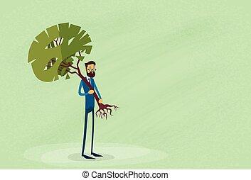 boompje, milieubescherming, groene, vasthouden, zakenman