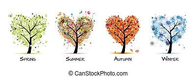 boompje, mooi, -, lente, zomer, quatres saisons, jouw, ontwerp, kunst, herfst, winter.