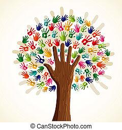 boompje, multi-etnisch, kleurrijke