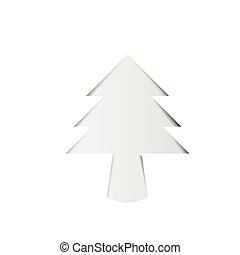 boompje, papier, kerstmis, schaduw, witte