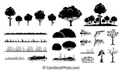 boompje, planten, design., grafisch, gras, vector