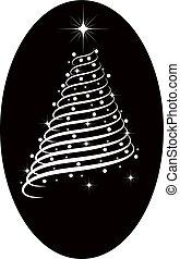 boompje, silhouette, kerstmis