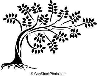 boompje, silhouette, vrijstaand