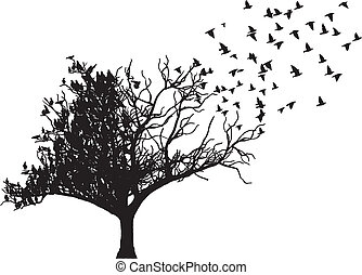 boompje, vector, kunst, vogel