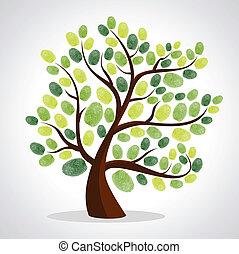 boompje, vinger, achtergrond, set, afdrukken