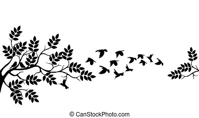 boompje, vliegen, silhouette, vogels