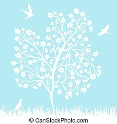 boompje, vogels, bloeien