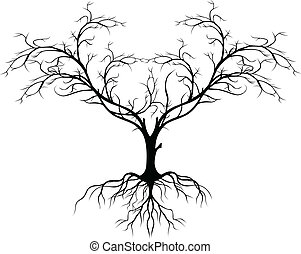 boompje, zonder, silhouette, blad