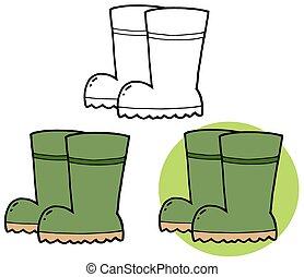 boots., rubber, verzameling, tuinieren