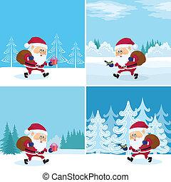 bos, claus, set, kerstman