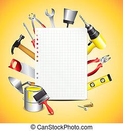 bouw papier, gereedschap, leeg