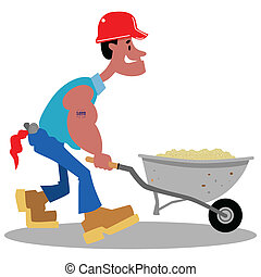 bouwsector, spotprent, arbeider