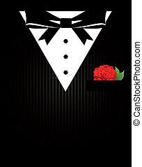 bowtie, tuxedo, hemd, dichtbegroeid boven