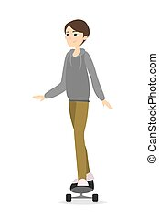 boy., vrijstaand, skateboarding