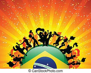 brazilië vlag, sportende, ventilator, menigte