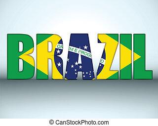 brazilie, 2014, vlag, brieven, braziliaans