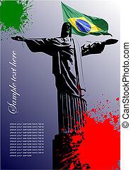 brazilie, beeld, dekking, vlag, braziliaans, informatieboekje