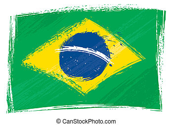 brazilie, grunge, vlag