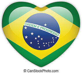 brazilie, hart, vlag, glanzend, knoop