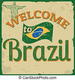 brazilie, poster, welkom, ouderwetse