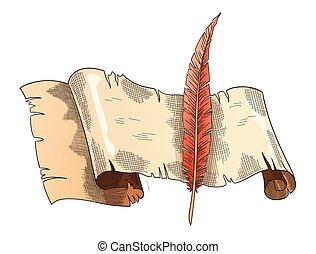 briefpapier, ouderwetse , schrijvende , werken, retro, books., poëzie, quill., opleiding, oud, of, perkament, document rol, antieke , paper., vector