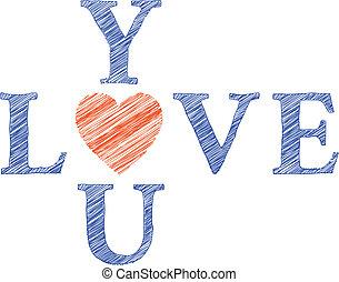 brieven, getrokken, liefde, u, hand