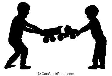 broers, silhouette, kinderen, toy., vector, op, vechten, quarrel.