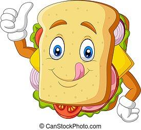 broodje, spotprent, het opgeven, duimen