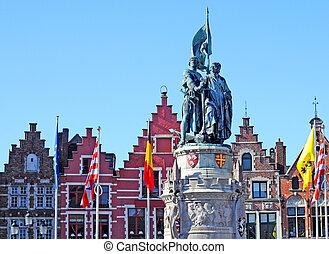brugge, erfenis, pieter, de, 1302, jan, breydel, standbeeld, unesco, slag, wereld, helden, spurs, coninck