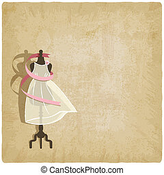 bruid, jurkje, papier, oud, achtergrond