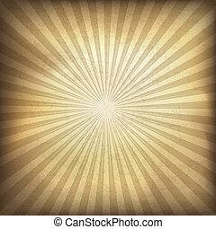 bruine , illustratie, eps10., achtergrond., vector, retro, zonnestraal