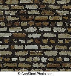 bruine , muur, textuur, verlichting, baksteen, schaduw